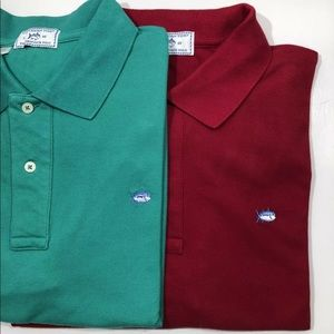 Lot of 2 NEW Southern Tide Polo shirts Green / red